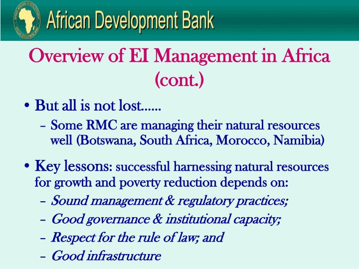 Overview of EI Management in Africa (cont.)