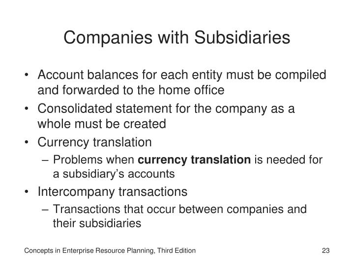 Companies with Subsidiaries