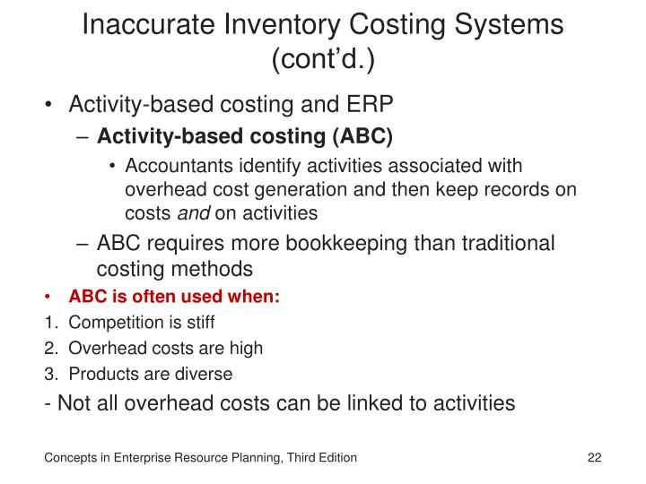 Inaccurate Inventory Costing Systems (cont'd.)
