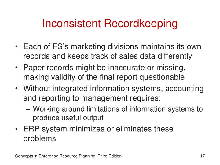Inconsistent Recordkeeping