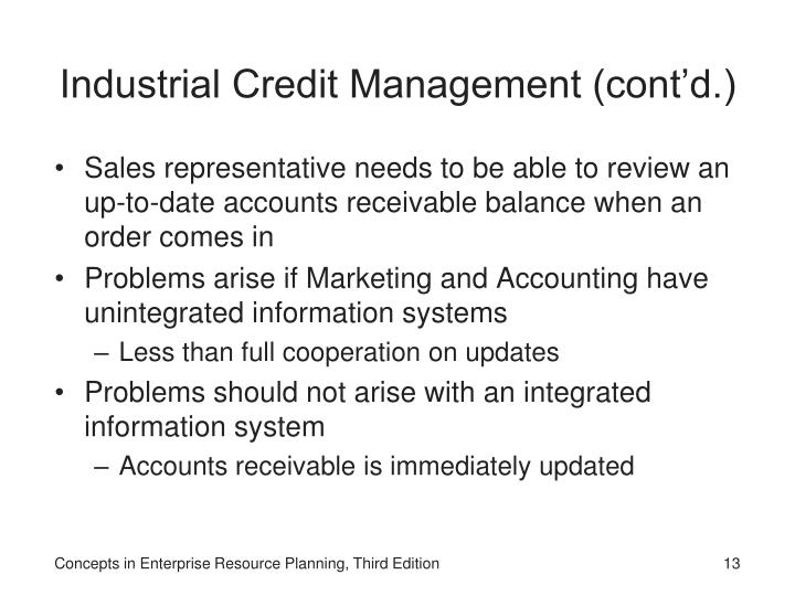 Industrial Credit Management (cont'd.)