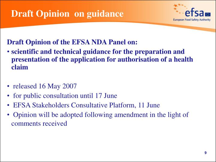 Draft Opinion  on guidance