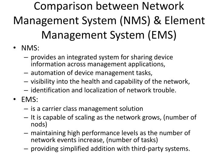 Comparison between Network Management System (NMS) & Element Management System (EMS)