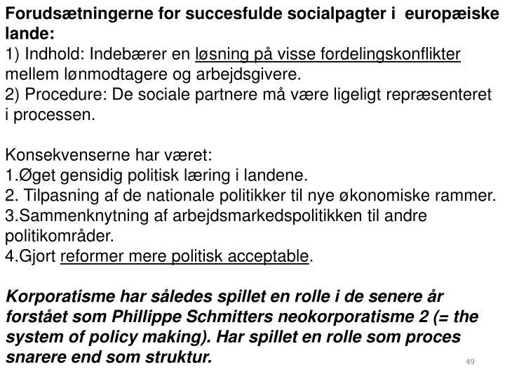 Forudsætningerne for succesfulde socialpagter i  europæiske lande: