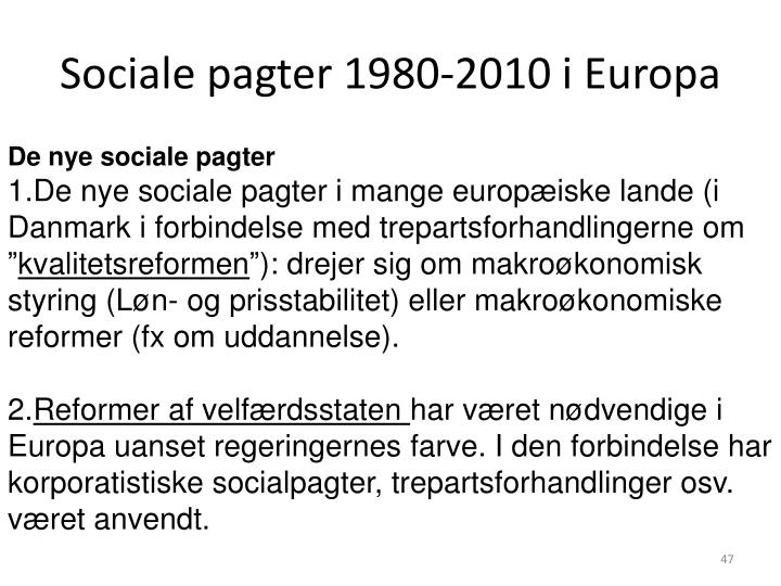 Sociale pagter 1980-2010 i Europa