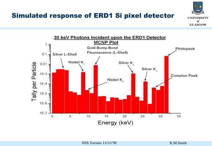Simulated response of ERD1 Si pixel detector