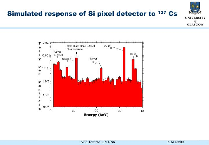 Simulated response of Si pixel detector to