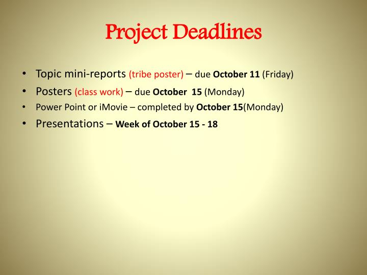 Project Deadlines