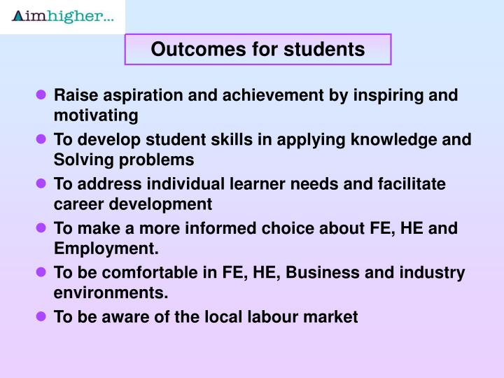 Outcomes for students