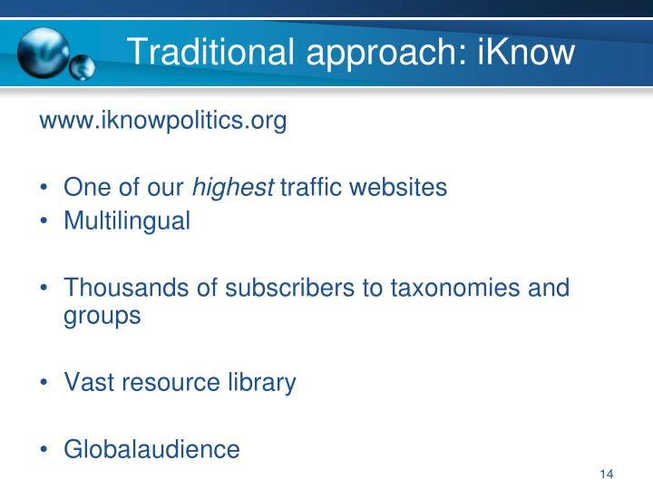 Traditional approach: iKnow