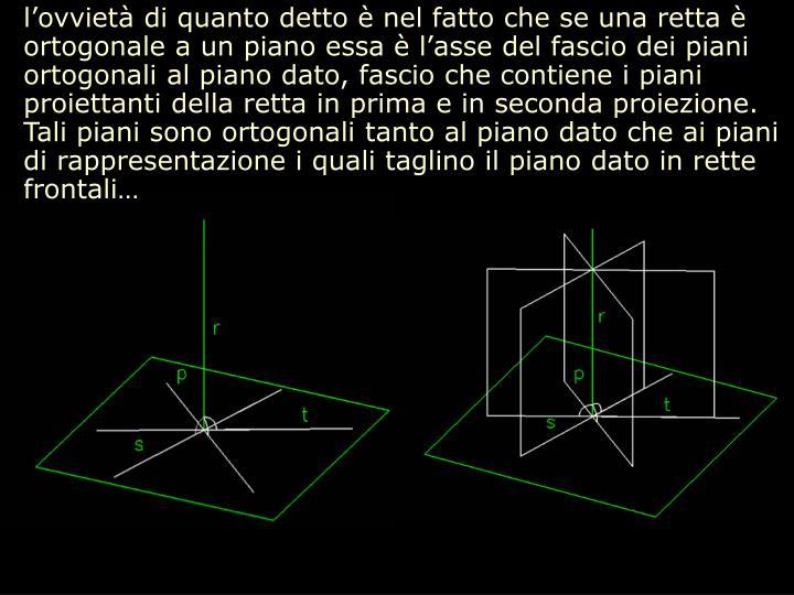 l'ovvietà di quanto detto è nel fatto che se una retta è ortogonale a un piano essa è l'asse del fascio dei piani ortogonali al piano dato, fascio che contiene i piani proiettanti della retta in prima e in seconda proiezione. Tali piani sono ortogonali tanto al piano dato che ai piani di rappresentazione i quali taglino il piano dato in rette frontali…