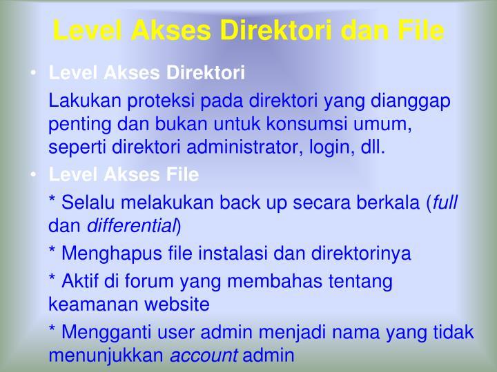Level Akses Direktori dan File