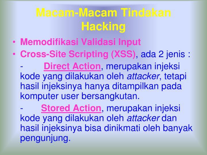 Macam-Macam Tindakan Hacking