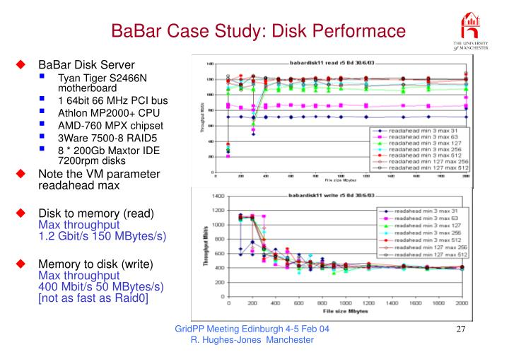 BaBar Case Study: Disk Performace