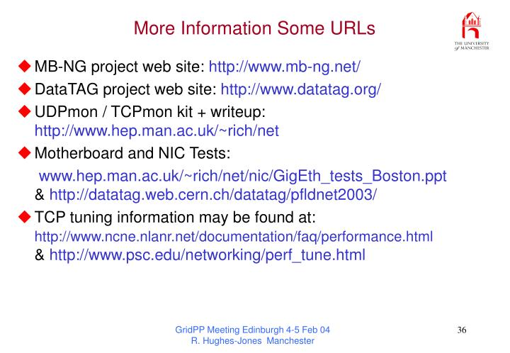 More Information Some URLs
