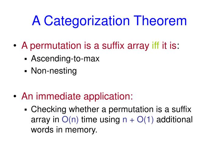 A Categorization Theorem