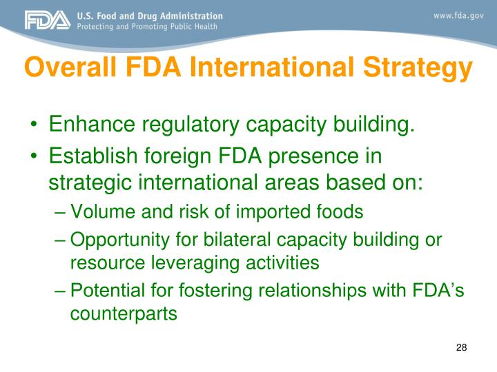 Overall FDA International Strategy