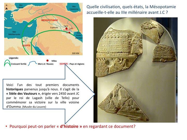 Quelle civilisation, quels états, la Mésopotamie accueille-t-elle au IIIe millénaire avant J.C ?