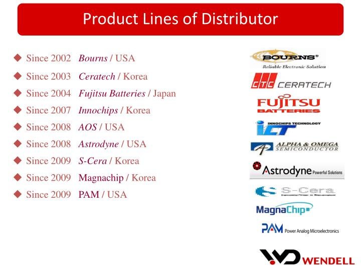 Product Lines of Distributor