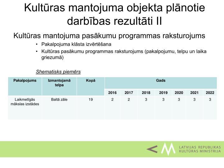 Kultūras mantojuma objekta plānotie darbības rezultāti II