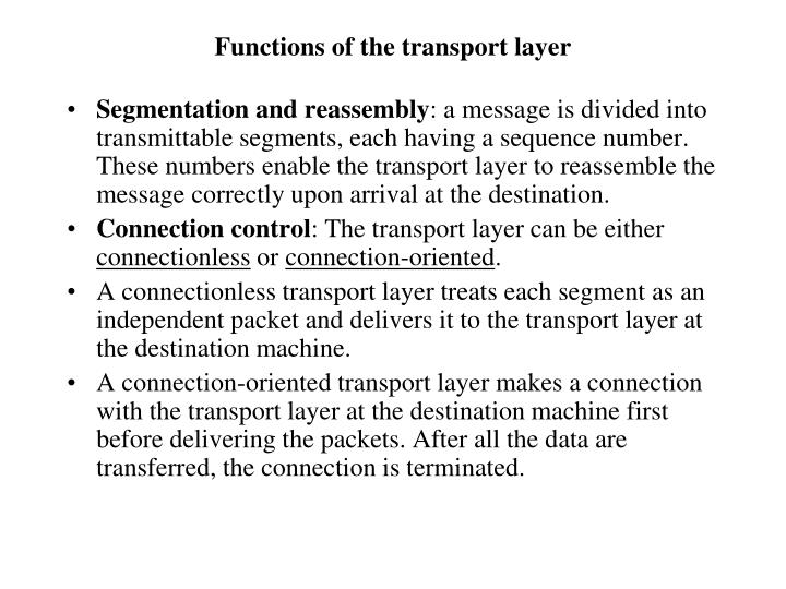 Functions of the transport layer