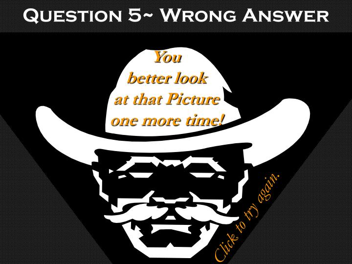 Question 5~ Wrong Answer