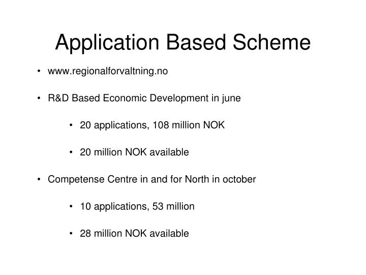 Application Based Scheme