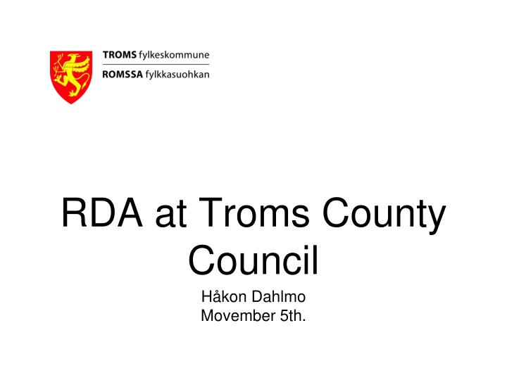 Rda at troms county council
