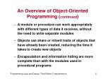 an overview of object oriented programming continued1
