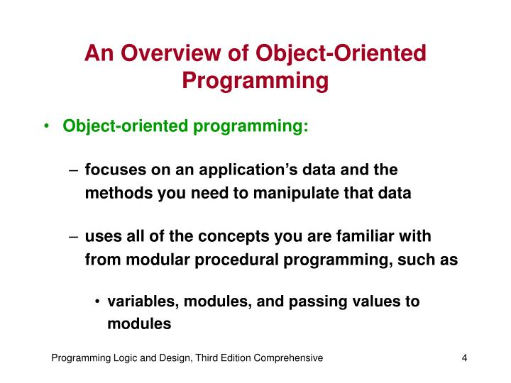 An Overview of Object-Oriented Programming