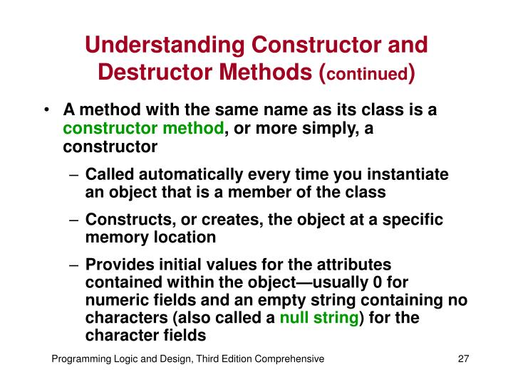 Understanding Constructor and Destructor Methods (
