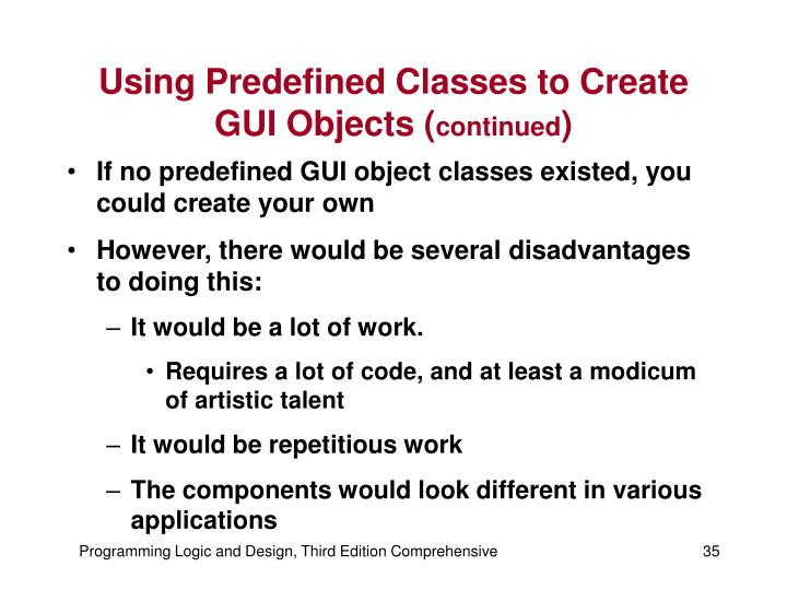 Using Predefined Classes to Create GUI Objects (