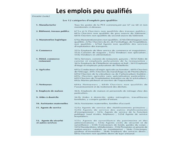 Les emplois peu qualifiés