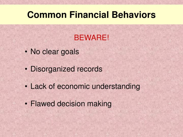 Common financial behaviors