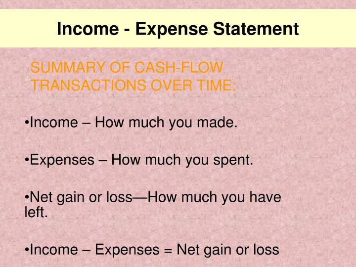 Income - Expense Statement