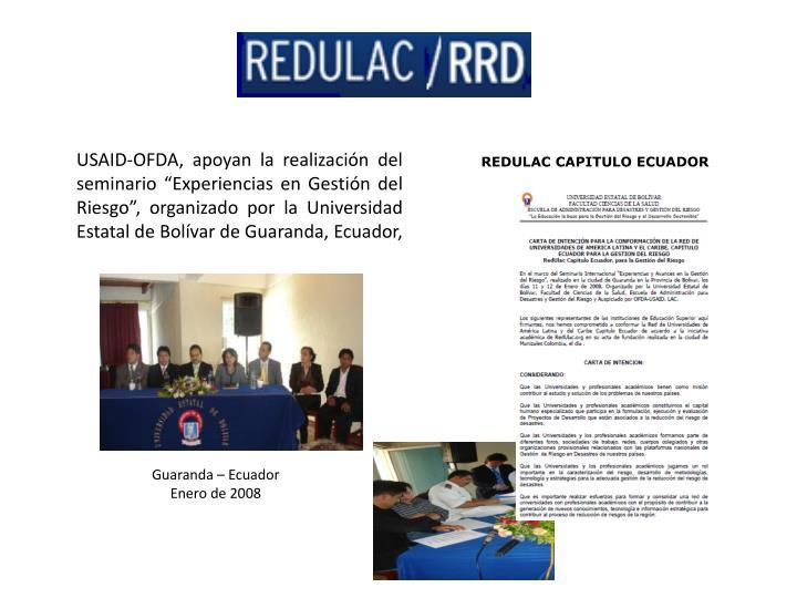 USAID-OFDA, apoyan la realización del seminario