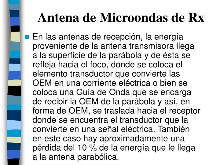 Antena de Microondas de Rx