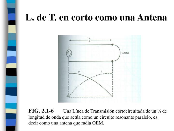 L. de T. en corto como una Antena