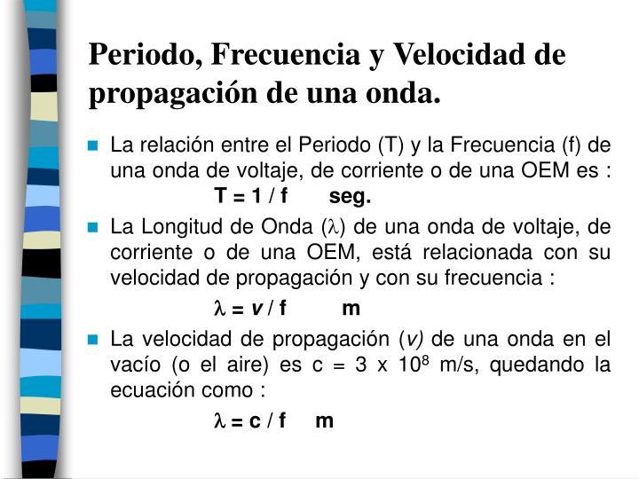 Periodo, Frecuencia y Velocidad de propagación de una onda.