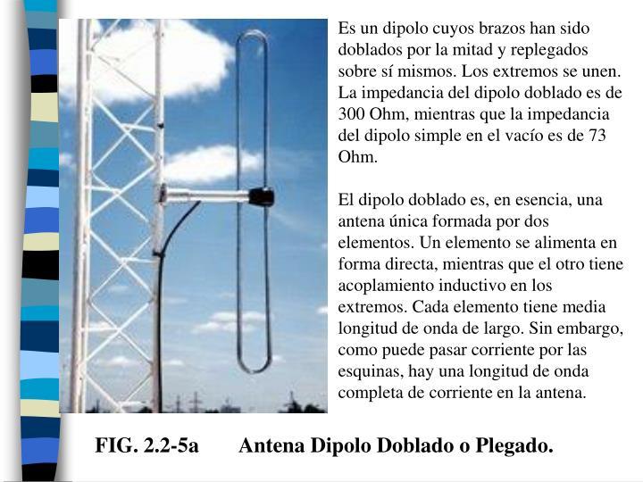 Es un dipolo cuyos brazos han sido doblados por la mitad y replegados sobre sí mismos. Los extremos se unen. La impedancia del dipolo doblado es de 300 Ohm, mientras que la impedancia del dipolo simple en el vacío es de 73 Ohm.