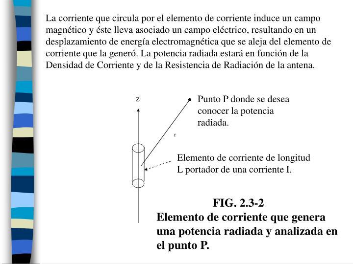 La corriente que circula por el elemento de corriente induce un campo magnético y éste lleva asociado un campo eléctrico, resultando en un desplazamiento de energía electromagnética que se aleja del elemento de corriente que la generó. La potencia radiada estará en función de la Densidad de Corriente y de la Resistencia de Radiación de la antena.