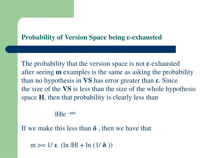 Probability of Version Space being