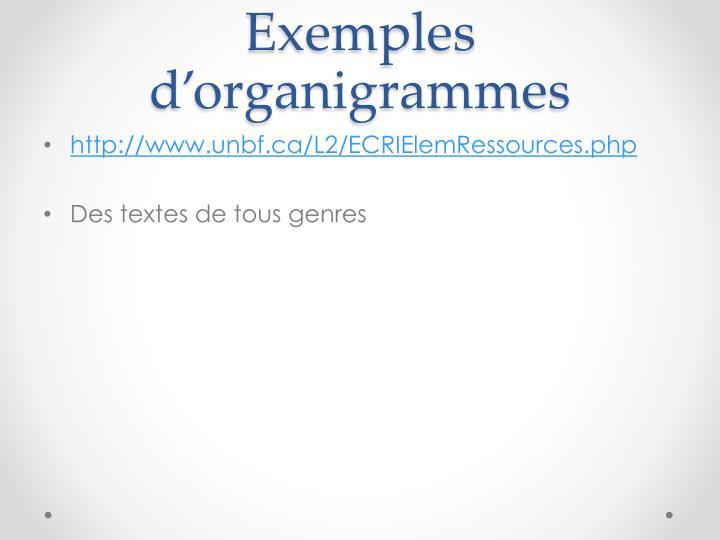 Exemples d'organigrammes