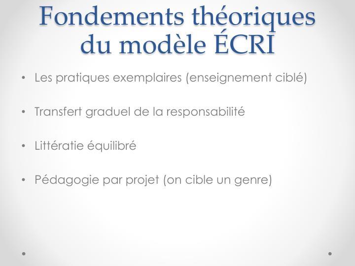Fondements théoriques du modèle ÉCRI