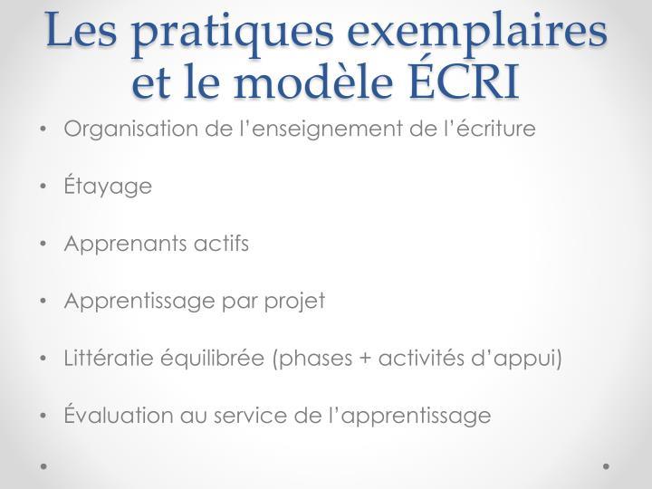 Les pratiques exemplaires et le modèle ÉCRI