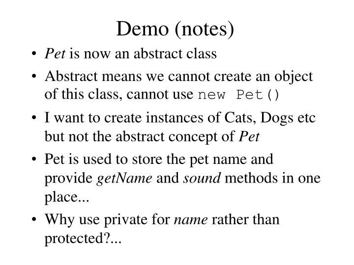 Demo (notes)