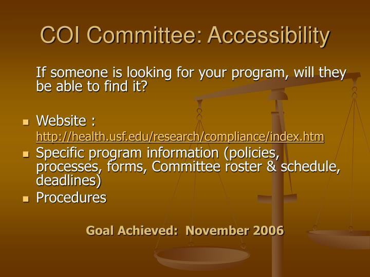 COI Committee: Accessibility