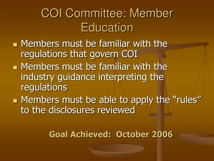 COI Committee: Member Education