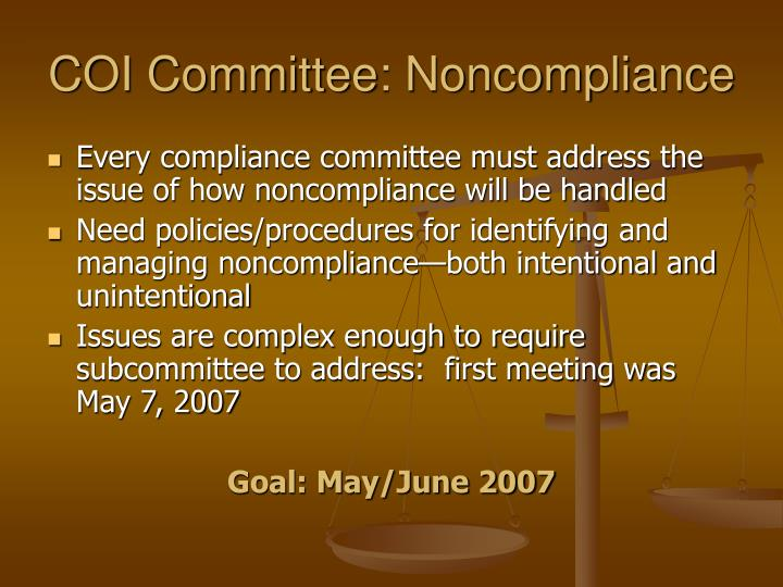 COI Committee: Noncompliance