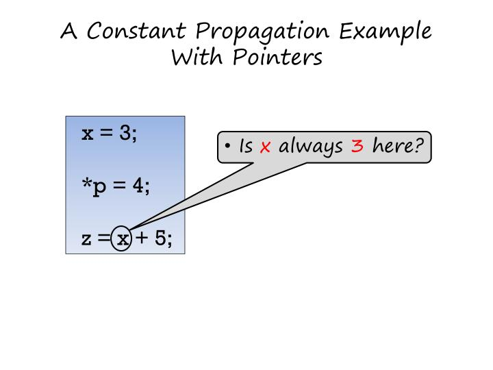 A constant propagation example with pointers